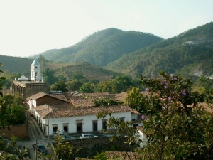 View from forests surrounding quaint mining village of San Sebastian